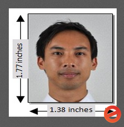 "Unacceptable—Photo does not measure 2 x 2"" (51 x 51 mm) with the head-length between 1 & 1.4"" (25 &  35 mm)"